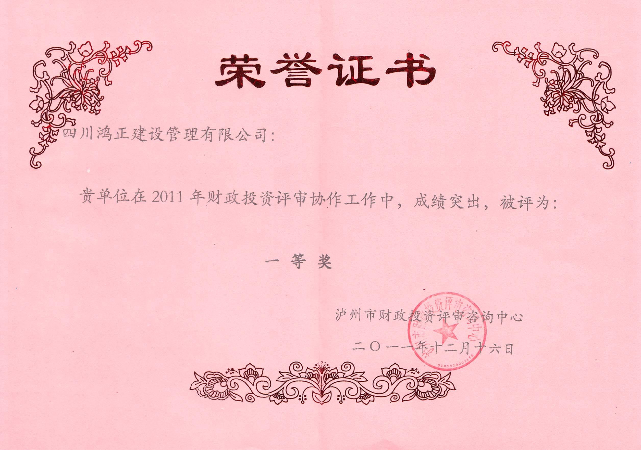 2011泸州市财政评审一等奖