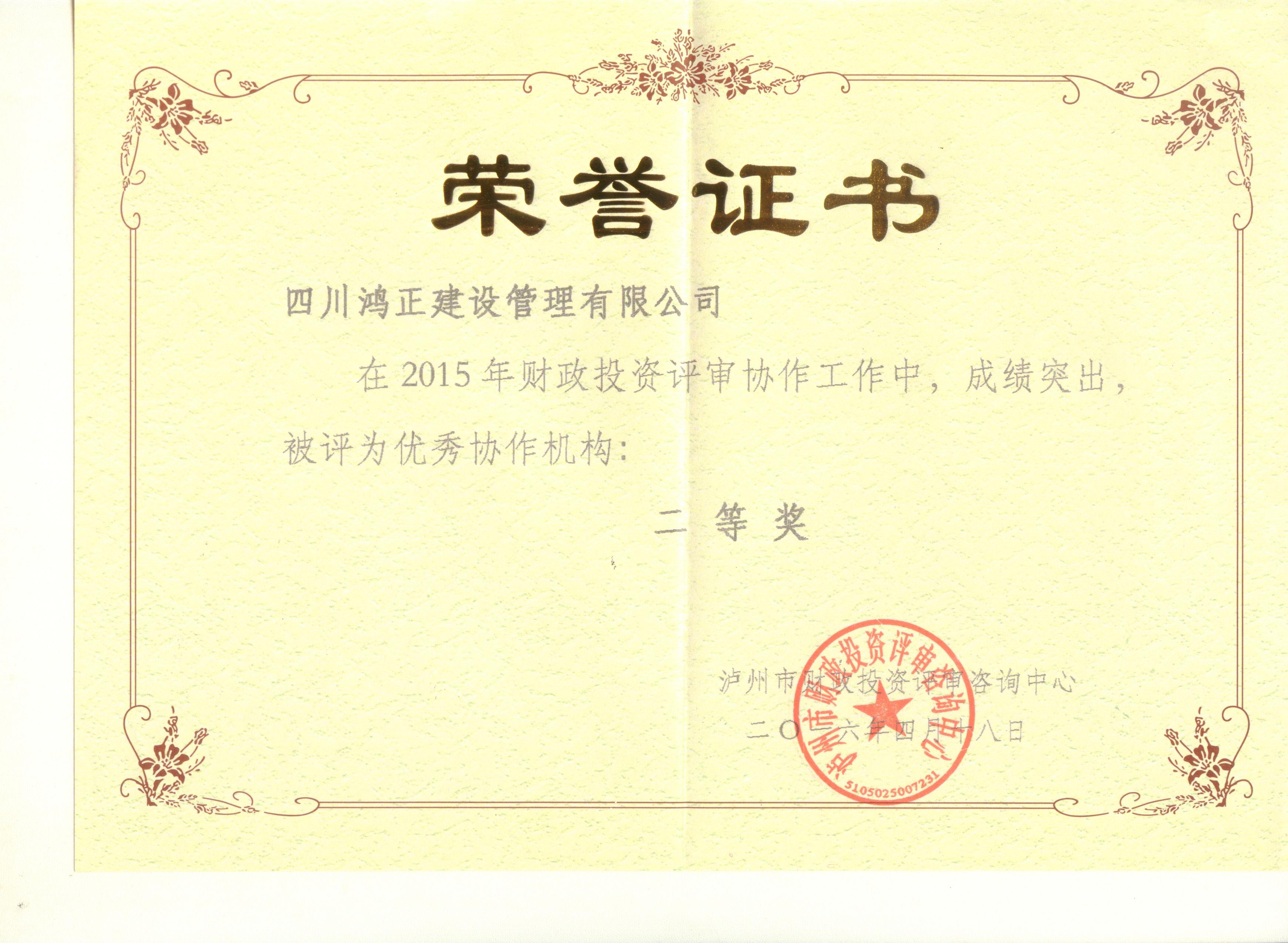 2015年泸州市财政评审二等奖
